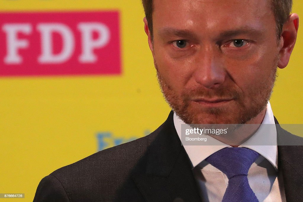 Christian Lindner, leader of the Free Democratic Party (FDP), pauses during a news conference at the FDP headquarters in Berlin, Germany, on Monday, Nov. 20, 2017. A month of coalition talks collapsed in dramatic fashion just before midnight Sunday as disputes among a grab-bag of disparate parties over migration and other polices led the Free Democrats to walk out. Photographer: Krisztian Bocsi/Bloomberg via Getty Images