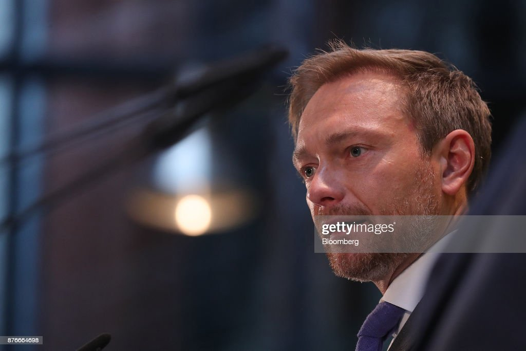 Christian Lindner, leader of the Free Democratic Party (FDP), speaks during a news conference at the FDP headquarters in Berlin, Germany, on Monday, Nov. 20, 2017. A month of coalition talks collapsed in dramatic fashion just before midnight Sunday as disputes among a grab-bag of disparate parties over migration and other polices led the Free Democrats to walk out. Photographer: Krisztian Bocsi/Bloomberg via Getty Images