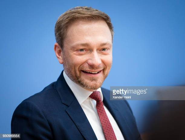 Christian Lindner leader of the liberal Free Democratic Party on March 12 2018 in Berlin Germany Topic is the coalition agreement
