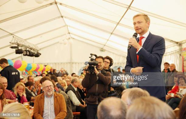 Christian Lindner of the FDP delivers a speech at the Gillamoos amusement fair on September 4 2017 in Abensberg Germany Politicians among them...