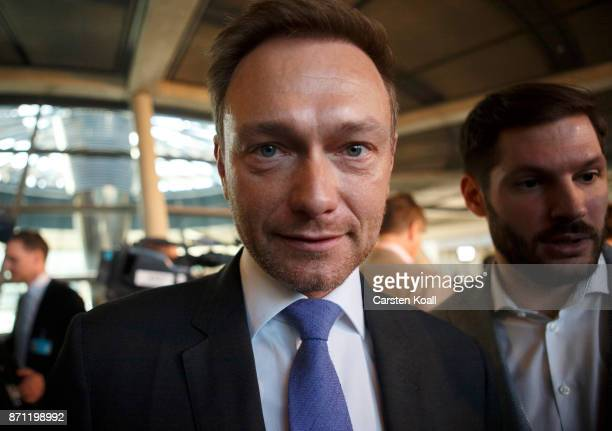 Christian Lindner of the Free Democratic Party speaks to the media during the second phase of coalition negotiations at the Reichstag on November 7...