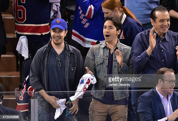 Christian Long and Justin Long attend the Washington Capitals vs New York Rangers playoff game at Madison Square Garden on May 2 2015 in New York City