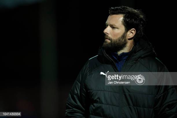 Christian Lonstrup head coach of FC Roskilde looks on during the Danish SYDBANK Pokalen Cup match between FC Roskilde and AaB Aalborg at Roskilde...