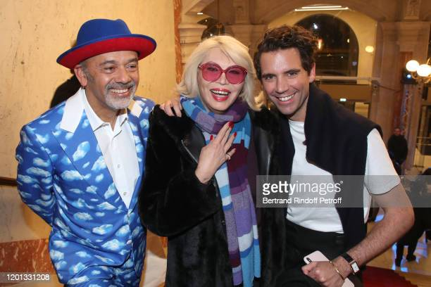 Christian Louboutin Amanda Lear and Mika attend the JeanPaul Gaultier Haute Couture Spring/Summer 2020 show as part of Paris Fashion Week at Theatre...