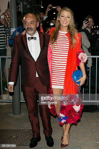 Christian Louboutin and actress Blake Lively arrive to attend the 'Vanity Fair and Chanel' party during the annual 69th Cannes Film Festival at Tetou...
