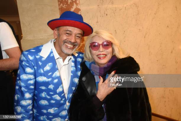 Christian Louboutin and Amanda Lear attend the JeanPaul Gaultier Haute Couture Spring/Summer 2020 show as part of Paris Fashion Week at Theatre Du...