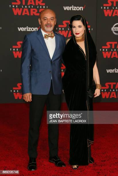 Christian Louboutin and Dita Von Teese arrive for the premiere of Disney Pictures and Lucasfilm's 'Star Wars The Last Jedi' at The Shrine Auditorium...