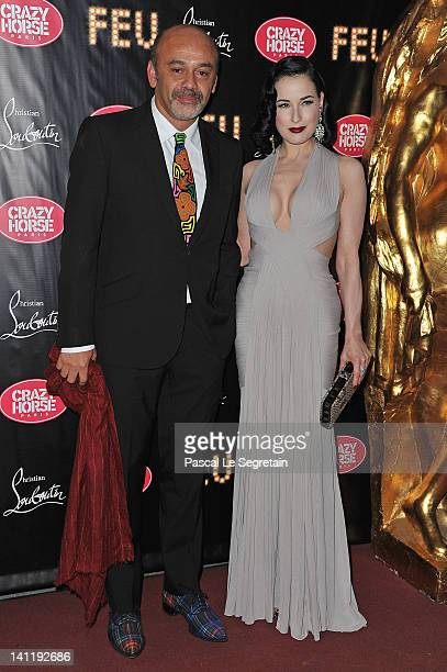 Christian Louboutin and Dita von Teese attend 'Feu' Directed By Christian Louboutin VIP Premiere at Le Crazy Horse on March 12 2012 in Paris France