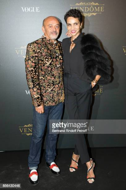 Christian Louboutin and Farida Khelfa attend Vogue Party as part of the Paris Fashion Week Womenswear Spring/Summer 2018 at on October 1 2017 in...