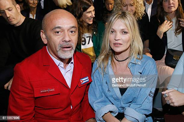 Christian Louboutin and Kate Moss attend the Christian Dior show as part of the Paris Fashion Week Womenswear Spring/Summer 2017 on September 30 2016...