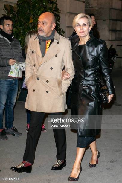 Christian Louboutin and Melita Toscan du Plantier arrive to attend the 'Madame Figaro' dinner at Automobile Club de France on April 5 2018 in Paris...
