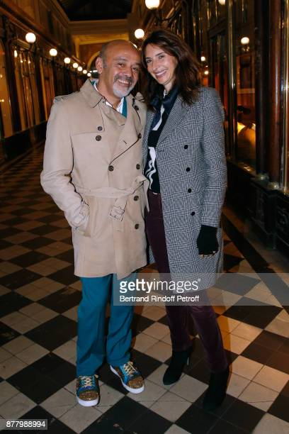 Christian Louboutin and Valerie Bernard attend the Ligne Blanche Boutique Opening at Galerie VeroDodat on November 23 2017 in Paris France