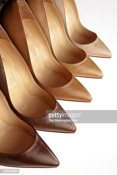 DC OCTOBER 21 2013 Christian Louboutin luxury French shoe and bag designer with famous red bottomed soles released a Nudes collection which features...