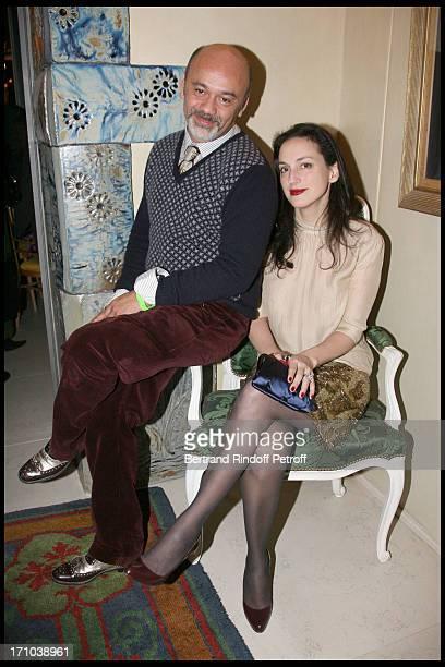 Christian Louboutin Olga De Grece at Pierre Passebon Is Honoured With The Rank Of Chevalier Des Arts Et Lettres At His Galerie Du Passage In Paris