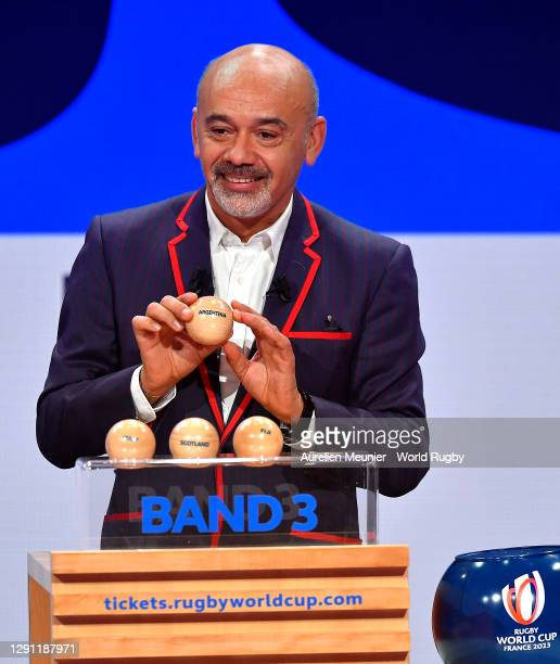 Christian Louboutin picks out Argentina during the Rugby World Cup France 2023 draw at Palais Brongniart on December 14, 2020 in Paris, France