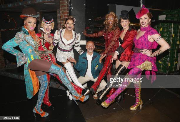 Christian Louboutin poses backstage with the Angels at the hit musical Kinky Boots on Broadway at The Hirschfeld Theatre on May 8 2018 in New York...