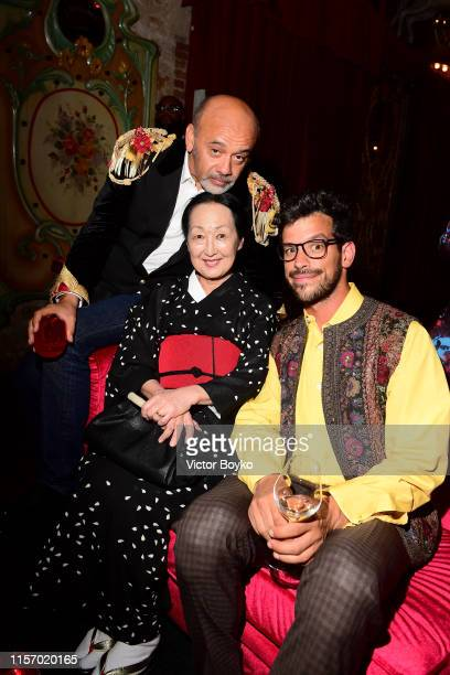 Christian Louboutin, Setsuko Klossowska de Rola and Rui Freitas attends the Loubicircus Party by Christian Louboutin at Musee des Arts Forains as...