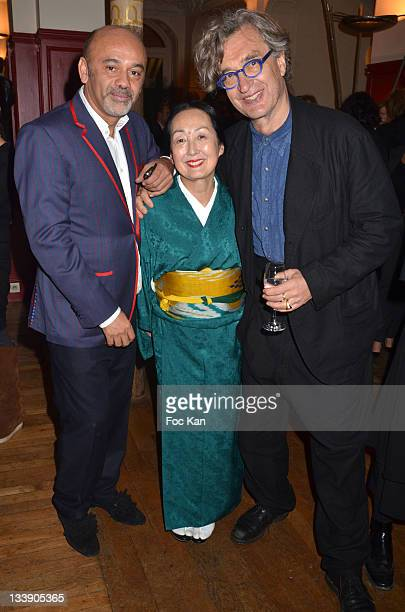 Christian Louboutin, Setsuko Klossowska de Rola and Wim Wenders attend the Christian Louboutin 20th Anniversary Book Launch at Christian Louboutin -...