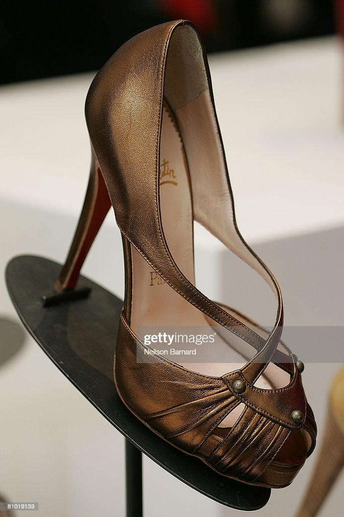 Christian Louboutin shoes are displayed at the launch of his fall collection at Barneys New York on May 7, 2008 in Beverly Hills, California. (Photo by Neilson Barnard/Getty Images)Christian Louboutin