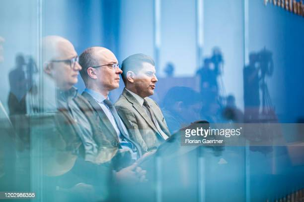 Christian Lueth spokesman of the AfD is pictured during the press conference the day after the state election in Hamburg on February 24 2020 in...