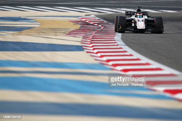 Christian Lundgaard of Denmark and ART Grand Prix drives during day two of Formula 2 Testing at Bahrain International Circuit on March 09, 2021 in...