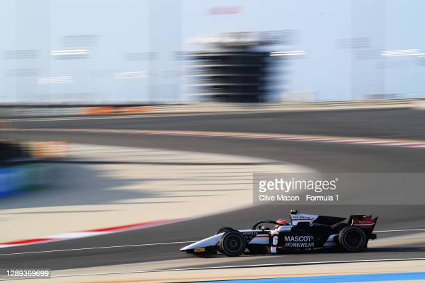 Christian Lundgaard of Denmark and ART Grand Prix drives during practice ahead of Round 12:Sakhir of the Formula 2 Championship at Bahrain...