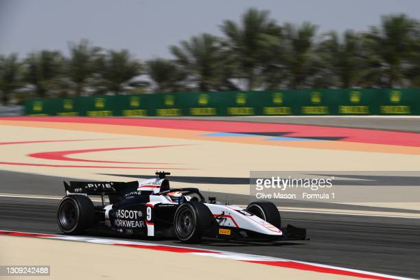 Christian Lundgaard of Denmark and ART Grand Prix drives during practice ahead of Round 1:Sakhir of the Formula 2 Championship at Bahrain...