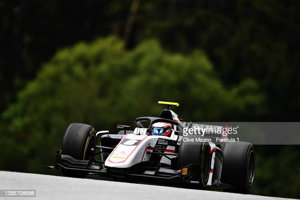 Christian Lundgaard of Denmark and ART Grand Prix drives during the sprint race for the Formula 2 Championship at Red Bull Ring on July 12, 2020 in...