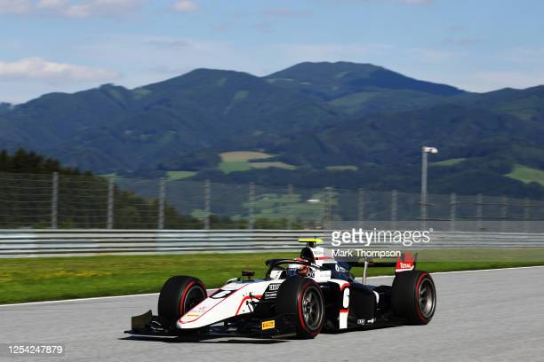 Christian Lundgaard of Denmark and ART Grand Prix drives on track during the feature race for the Formula 2 Championship at Red Bull Ring on July 04,...