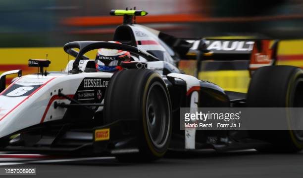 Christian Lundgaard of Denmark and ART Grand Prix drives on track during the sprint race of the Formula 2 Championship at Hungaroring on July 19,...