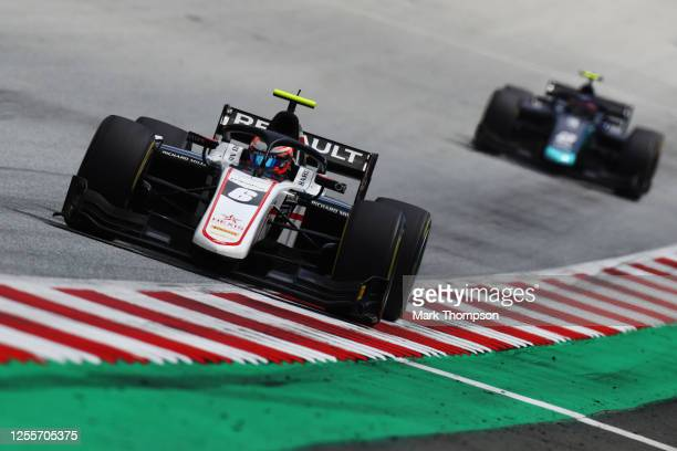 Christian Lundgaard of Denmark and ART Grand Prix leads Dan Ticktum of Great Britain and DAMS during the sprint race for the Formula 2 Championship...