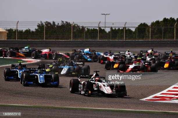Christian Lundgaard of Denmark and ART Grand Prix leads the field at the start during the Feature Race of Round 1:Sakhir of the Formula 2...