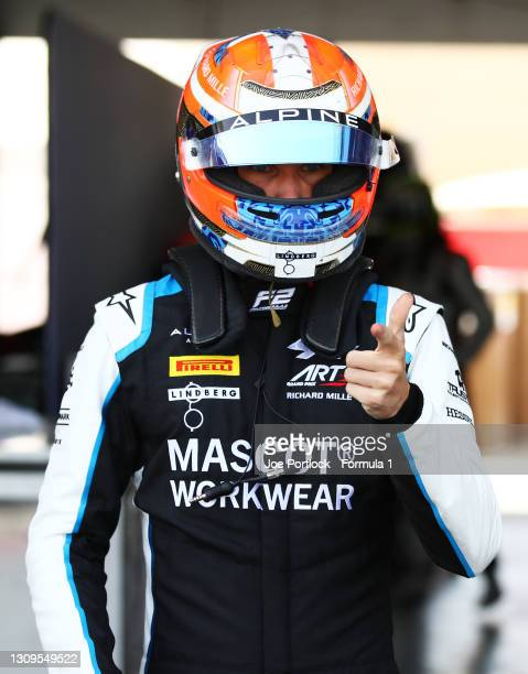 Christian Lundgaard of Denmark and ART Grand Prix looks on ahead of the Feature Race of Round 1:Sakhir of the Formula 2 Championship at Bahrain...