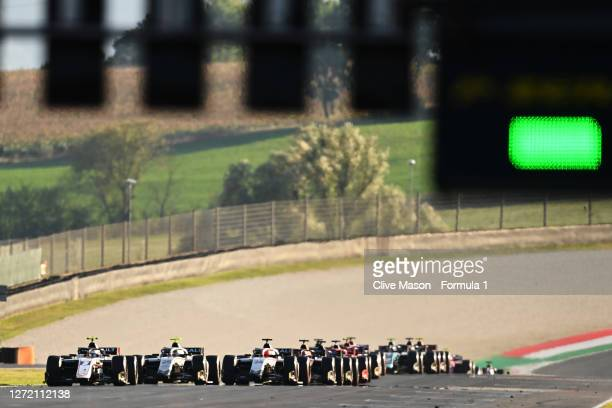 Christian Lundgaard of Denmark and ART Grand Prix , Luca Ghiotto of Italy and Hitech Grand Prix and Nikita Mazepin of Russia and Hitech Grand Prix...