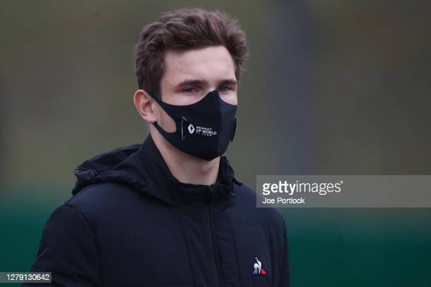 Christian Lundgaard of Denmark and Renault Sport F1 walks the track during previews ahead of the F1 Eifel Grand Prix at Nuerburgring on October 08,...