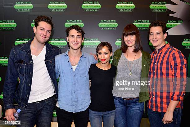 Christian Madsen Ben LloydHughes Zoe Kravitz Amy Newbold and Miles Teller of 'Divergent' attend an interview in the On Demand Lounge at Hard Rock...