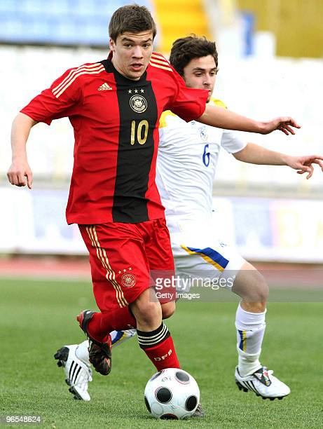 Christian Maerz of U16 Germany challenges Stavros Zevlaris of U16 Cyprus during the international friendly match between U16 Cyprus and U16 Germany...