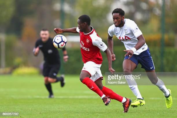 Christian Maghoma of Tottenham Hotspur and Folarin Balogun of Arsenal in action during a Premier League 2 match between Tottenham Hotspur and Arsenal...