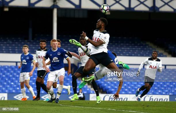 Christian Maghoma of Tottenham Hotspur in action during the Premier League 2 match between Everton and Tottenham Hotspur at Goodison Park on April 10...