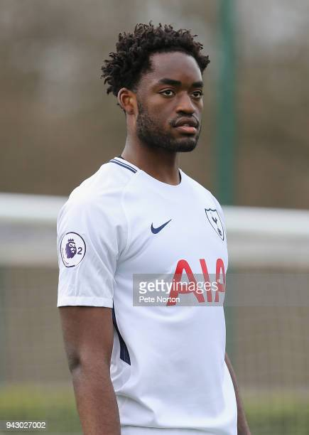 Christian Maghoma of Tottenham Hotspur in action during the Premier League 2 match between Tottenham Hotspur and Derby County on April 7 2018 in...