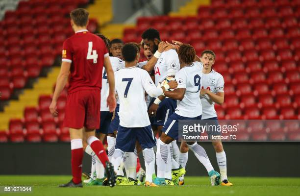 Christian Maghoma of Tottenham Hotspur is congratulated by team mates after scoring their second goal during the Premier League 2 match between...