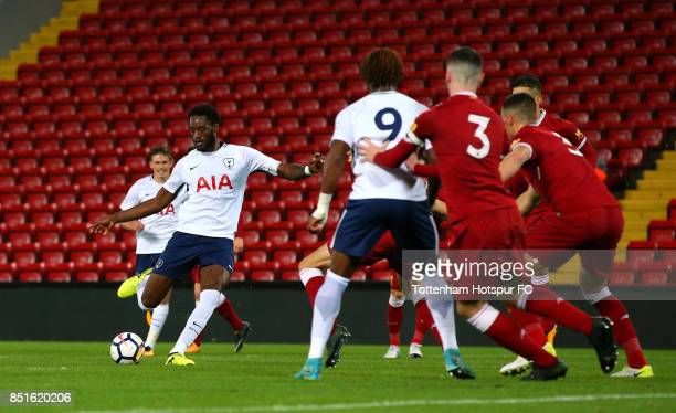 Christian Maghoma of Tottenham Hotspur scores their second goal during the Premier League 2 match between Liverpool and Tottenham Hotspur at Anfield...