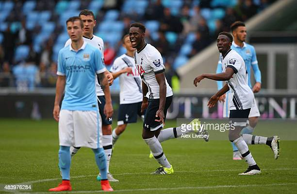 Christian Maghoma of Tottenham Hotspur U21 celebrates after scoring their third goal during the Barclays U21 Premier League match between Manchester...