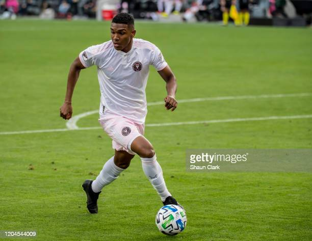 Christian Makoun of Inter Miami in action during the MLS match against Los Angeles FC at the Banc of California Stadium on March 1 2020 in Los...