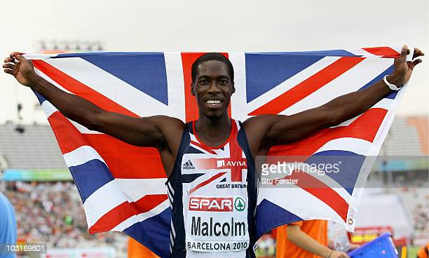 Christian Malcolm of Great Britain wins the silver medal in the Mens 200m Final during day four of the 20th European Athletics Championships at the...