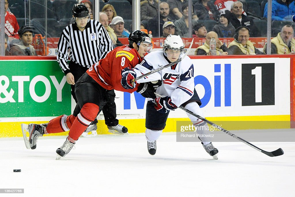 Christian Marti #8 of Team Switzerland strips the puck from Kyle Rau #20 of Team USA during the 2012 World Junior Hockey Championship Relegation game at the Scotiabank Saddledome on January 4, 2012 in Calgary, Alberta, Canada. Team USA defeated Team Switzerland 2-1.