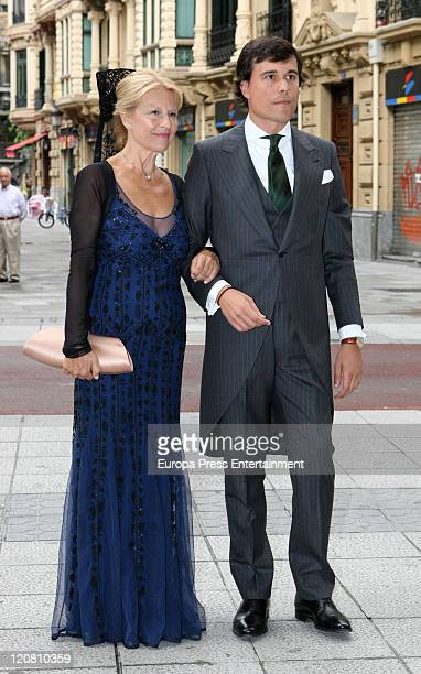 Christian Martin Perez Carrion and his mother pose at the San Vicente Abando Chapel on August 10 2011 in Bilbao Spain