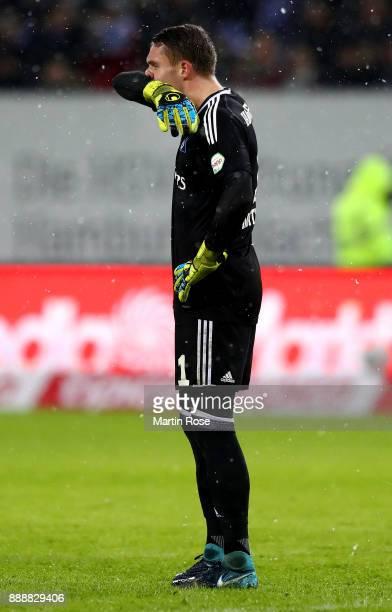 Christian Mathenia goalkeeper of Hamburg reacts during the Bundesliga match between Hamburger SV and VfL Wolfsburg at Volksparkstadion on December 9...
