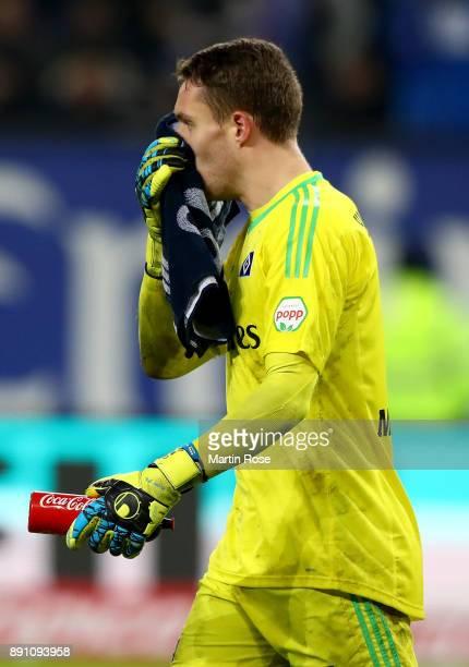 Christian Mathenia goalkeeper of Hamburg reacts during the Bundesliga match between Hamburger SV and Eintracht Frankfurt at Volksparkstadion on...