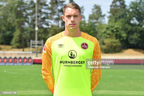 Christian Mathenia of 1 FC Nuernberg poses during the team presentation at Sportpark Valznerweiher on July 16 2018 in Nuremberg Germany
